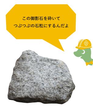 この御影石を砕いてつぶつぶの石粒にするんだよ